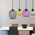 Vintage Fashion Handmade 4 Colors Crystal Glass LED E27 Pendant Light For Dining Room Restaurant Bar