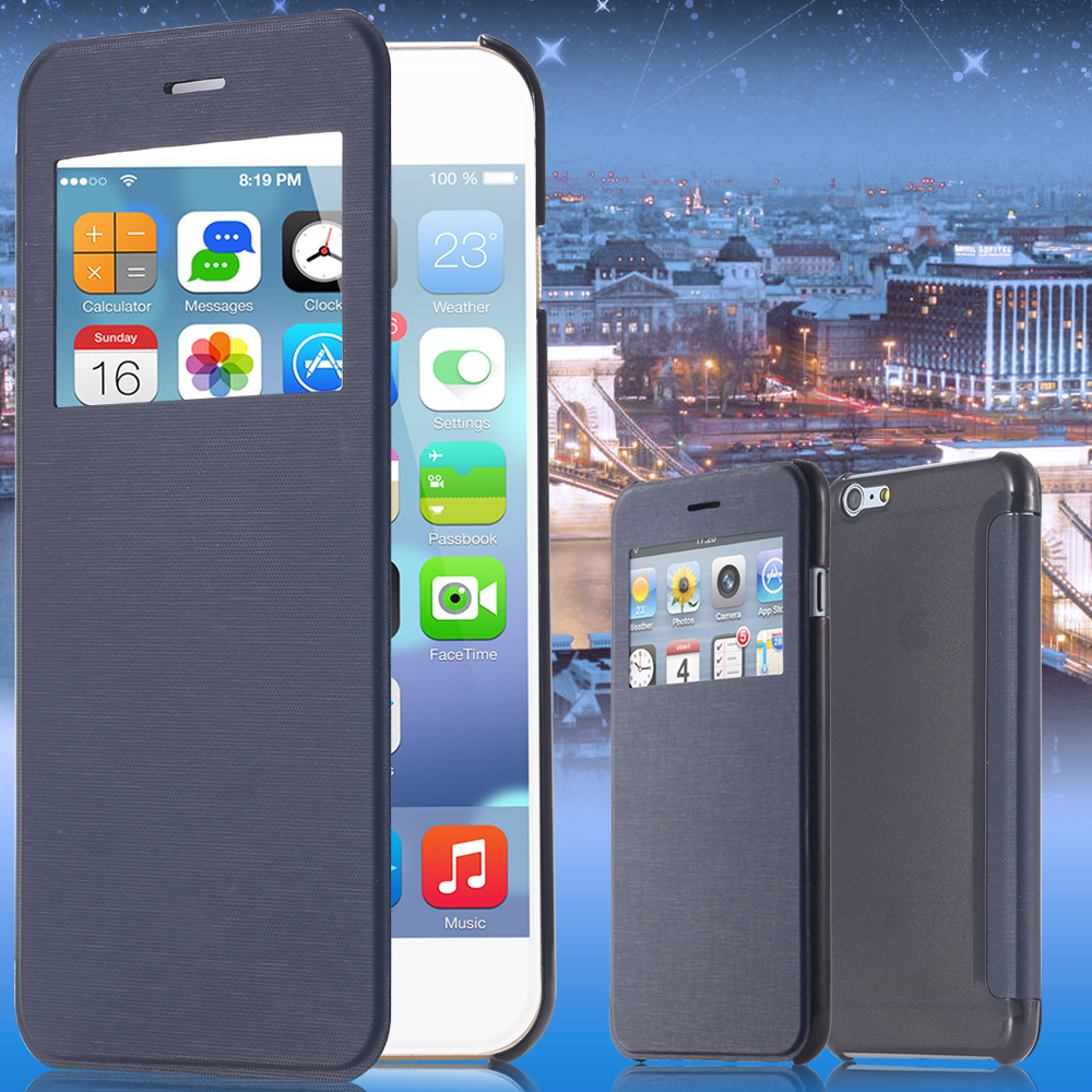 I6 Ultra Thin Window View Fashion Classic Business Cloth Skin Flip PU Leather Case For iPhone 6 4.7 Cover Simple for i6 YXF04453(China (Mainland))