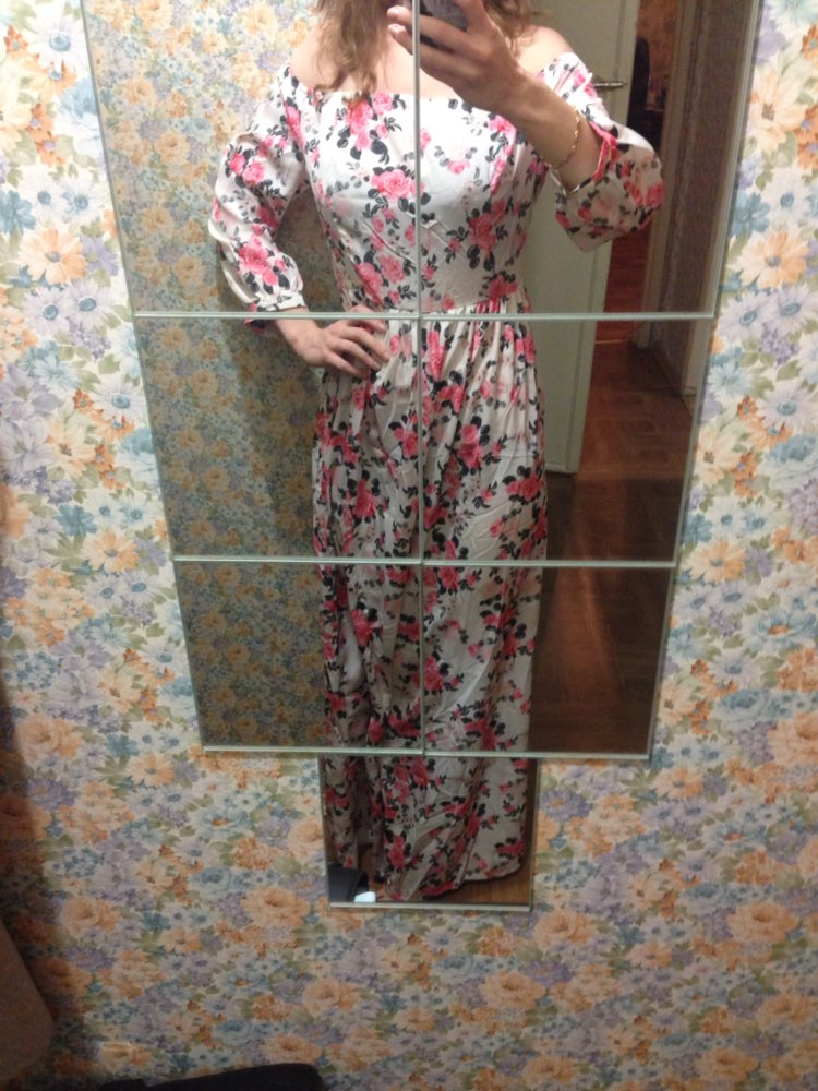 New 2015 Women Summer Maxi Dress O-neck Three Quarter Sleeve Floral Print Party Elegant Long Dress