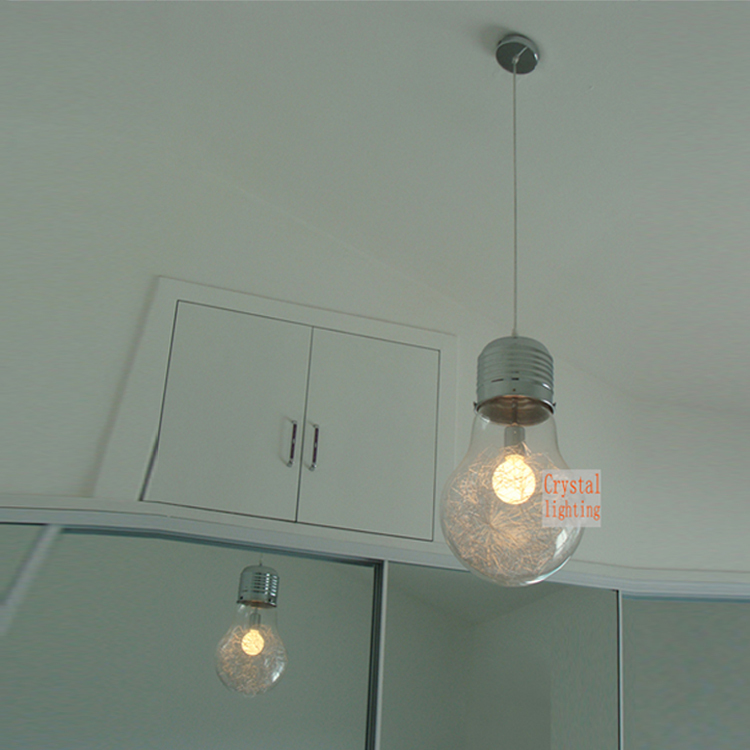 Suspendus grande ampoule pendentif lampe contemporaine for Lampe suspension ampoule
