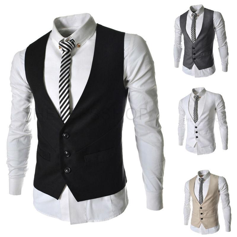 New 2014 Waistcoat Vest Autumn Men Slim Dress Suit Vest For Suit or Tuxedo 3 Buttons Male V-neck Luxury Jacket Casual Tank Tops(China (Mainland))