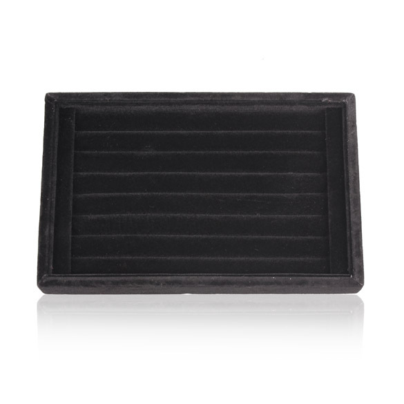 New Practiacl Soft Velvet Ear Stud Finger Ring Jewelry Display Tray Holder Ring Case Black Free Shipping(China (Mainland))