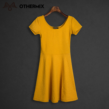 Othermix 2016 Fashion Women Clothes Summer Solid Vintage Short Sleeve A-Line O-Neck Sexy Mini Yellow Color Party Casual Dresses(China (Mainland))
