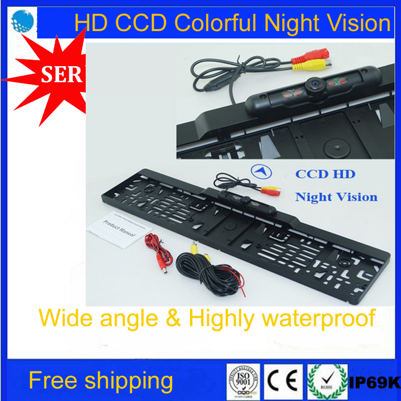 Free Shipping CCD HD car reverse rear view camera European License Plate car parking rear view camera For Eur car Promotion(China (Mainland))