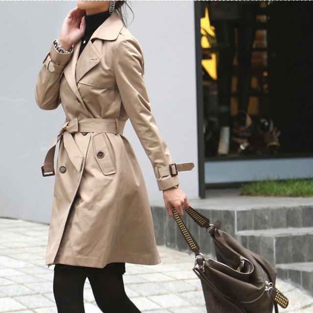 Женщины в осень зима плащ пиджаки женское приталенный двубортная свободного покроя ...