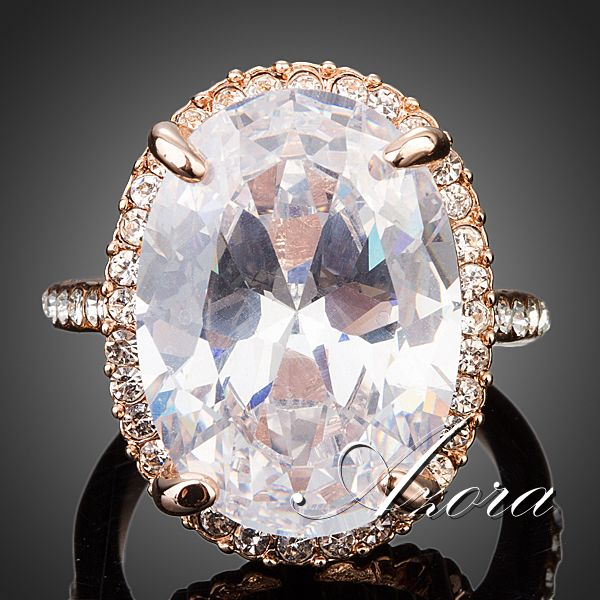 AZORA Rose Gold Plated Big Oval-cut 5ct Egg Shaped Cubic Zirconia Diamond Finger Ring TR0127(China (Mainland))