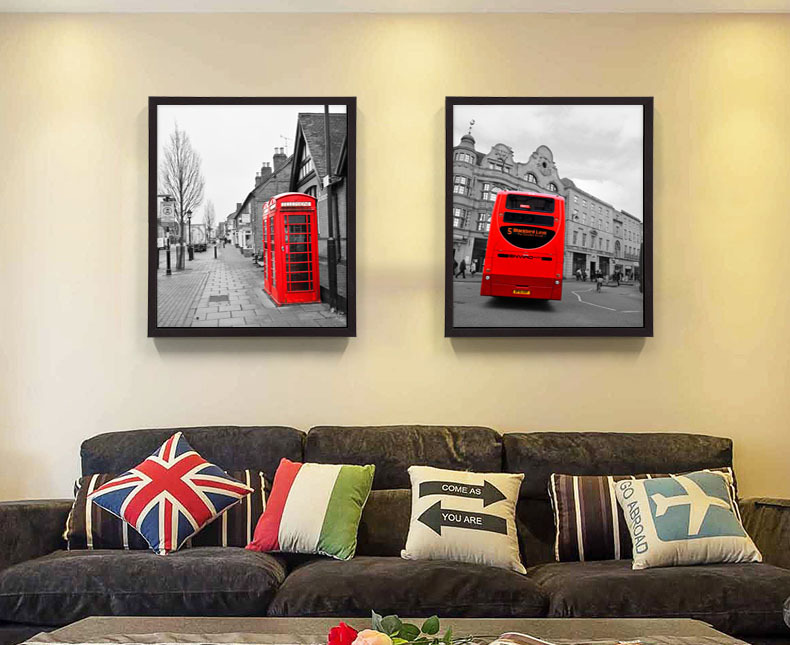vintage style Home decor picture scenery London black and white painting red telephone booth red bus art Canvas Painting(China (Mainland))