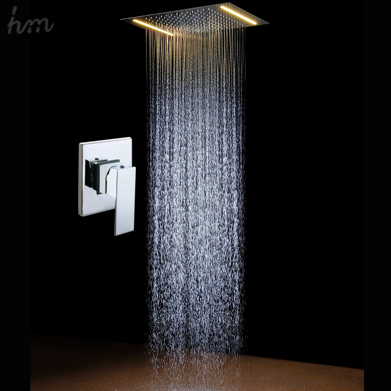 Electric LED Light Water Faucet Tap Rainfall SPA Bath Shower Head Sets Square Shower Panel Mixer Bathroom Accessories In Wall T(China (Mainland))