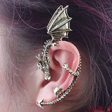 1pc 2016 New Fashion jewelry Retro Vintage Bronze Punk Temptation Metal Dragon Bite Ear Cuff Clip Wrap Earring(China (Mainland))