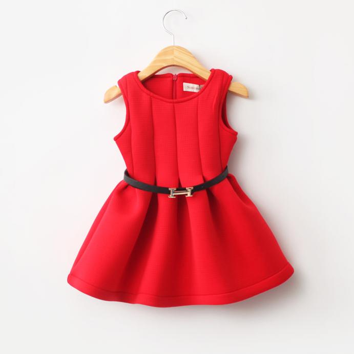 Spring and autumn 2015 new girls vest dress belt girls dress pretty cute kids fashion clothing sundress dresses()