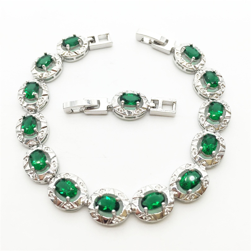 Sterling Silver Flower Green Emerald Bracelet Health Fashion Jewelry For Women Free shipping(China (Mainland))