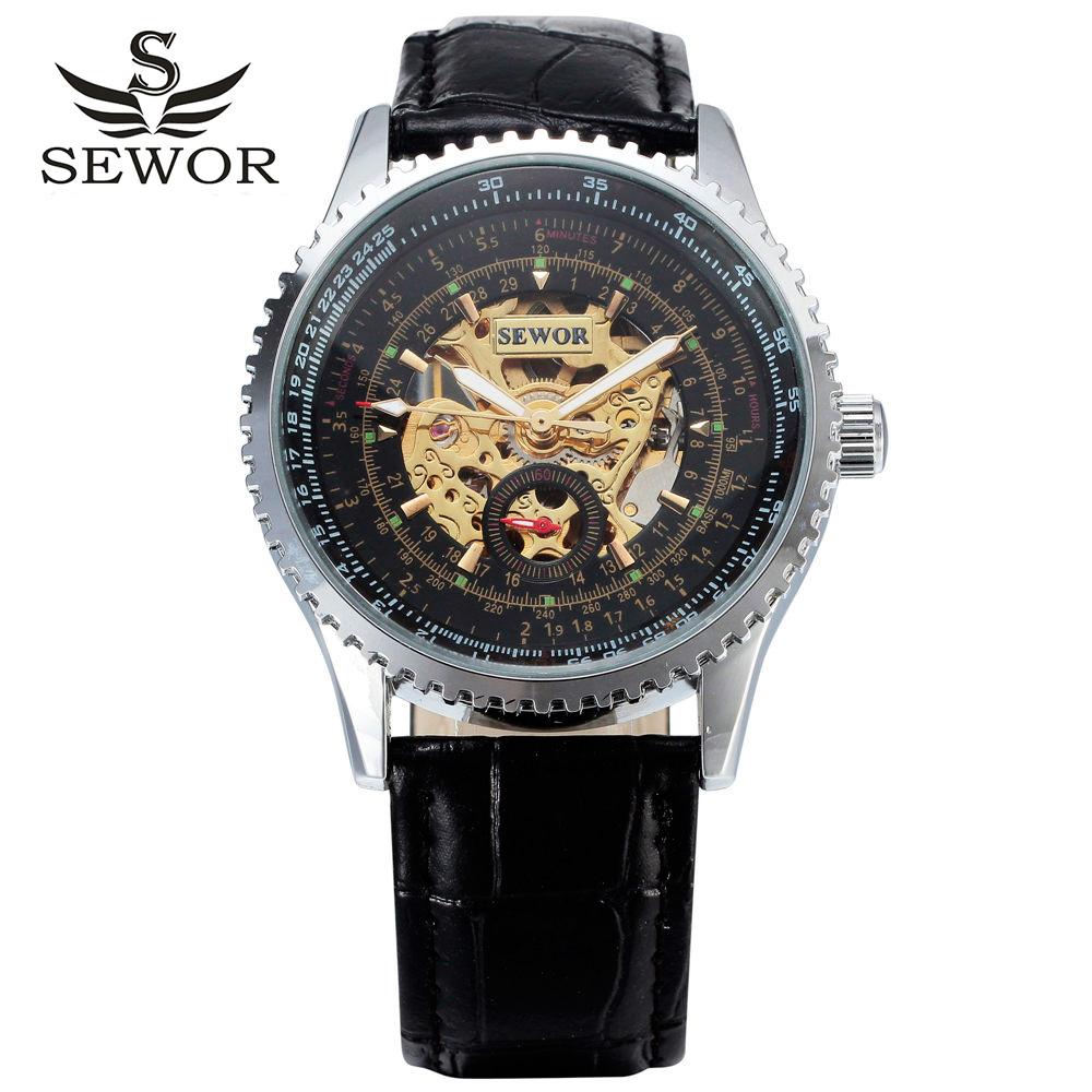 2016 new winner luxury fashion male leather business skeleton mechanical men self wind military wrist watch gift clock(China (Mainland))