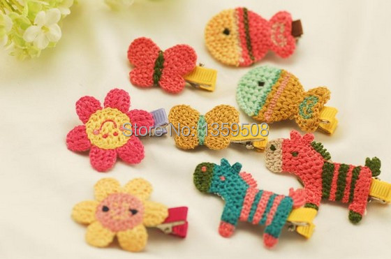 Free Shipping 30pcs Cute Baby Tiaras Headband Girls Knitted Horse/Fish/Butterfly Animal Hair Clip Kids Hair Accessories(China (Mainland))