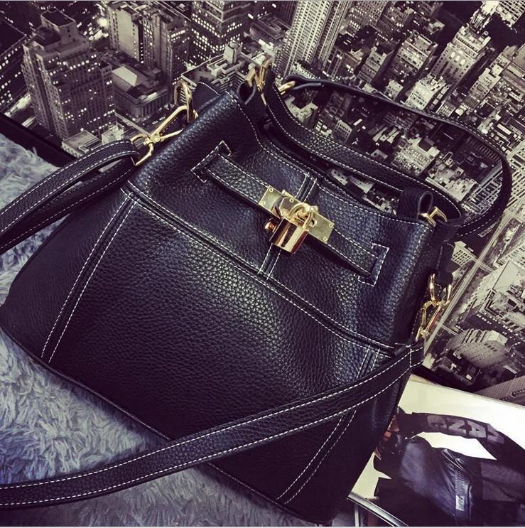 2015 fashion genuine leather bag bucket bag woman bag retro car suture Mobile women Messenger bags,free shipping