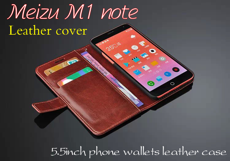 High quality Leather cover meizu m1 note case Flip wallets phone shell for meizu meilan note leather case 5.5 inch Free shipping(China (Mainland))