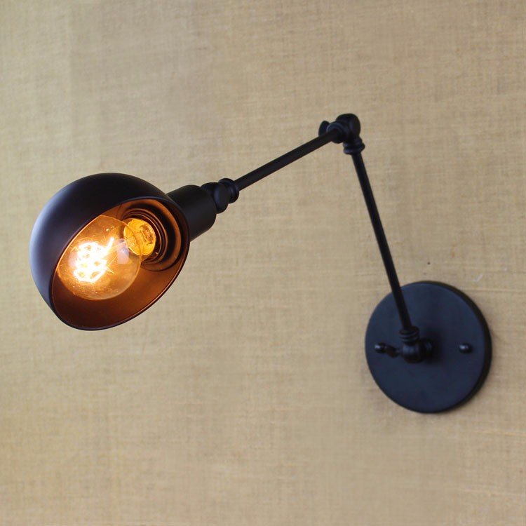 E27 Base Retro Loft Industrial LED Vintage Wall Lamp light Wall Sconce Adjustable Handle Metal Rustic Loft Light Sconce Fixtures (8)
