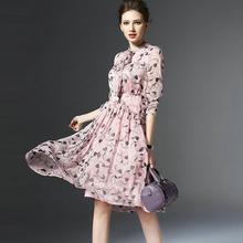 2016 New Summer Autumn Dresses Womens Long Sleeve Chiffon Dress Women Floral Print Bow Collar  Elegant Dresses Vestidos CQ0083(China (Mainland))