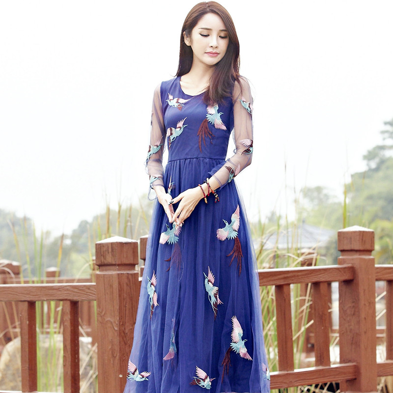 BOHOCHIC Original Vintage Embroidery Bohemian Thailand Women Sexy Maxi Robe Ladies Summer Beach Dress Blue AZ0480C Boho ChicОдежда и ак�е��уары<br><br><br>Aliexpress