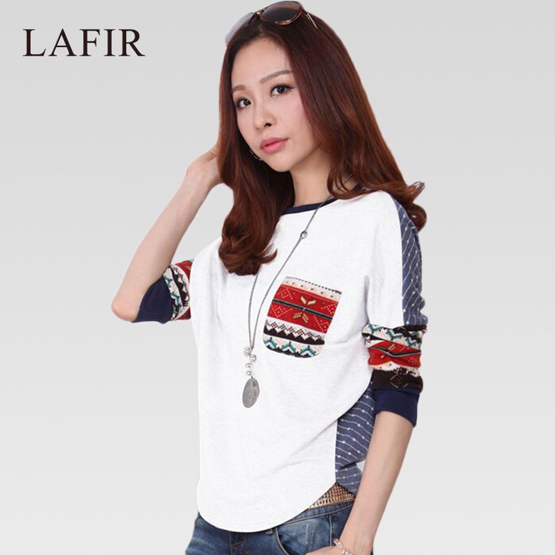 2015 Korean Fashion Tshirt Women Batwing Long Sleeve T Shirt Prints Female Casual Loose T-shirts Women Graphic Tees TopsОдежда и ак�е��уары<br><br><br>Aliexpress