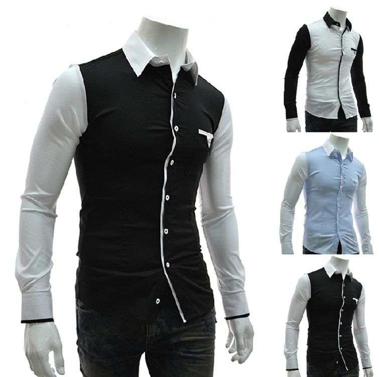 Fashion patchwork mens wedding tuxedo shirts slim fit White french cuff shirt slim fit