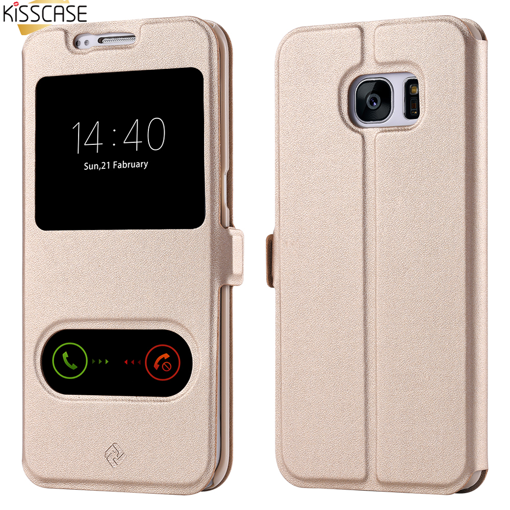 KISSCASE S5 S6 Edge Capa Smart View Case For Samsung Galaxy S3 S4 S5 S6 Edge Cover Leather Flip Magnetic Slide Answer Shell Case(China (Mainland))