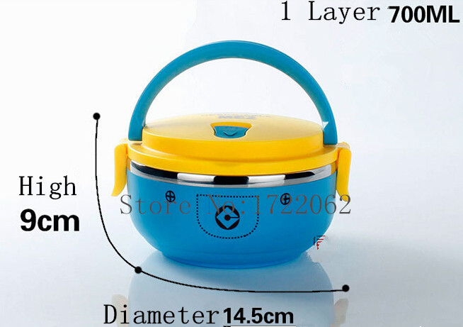 1 Layer Stainless Steel Vacuum Thermal Lunch Box Kids 0.7L Keep Warm Food Container For School Office Bento Lunch Box(China (Mainland))