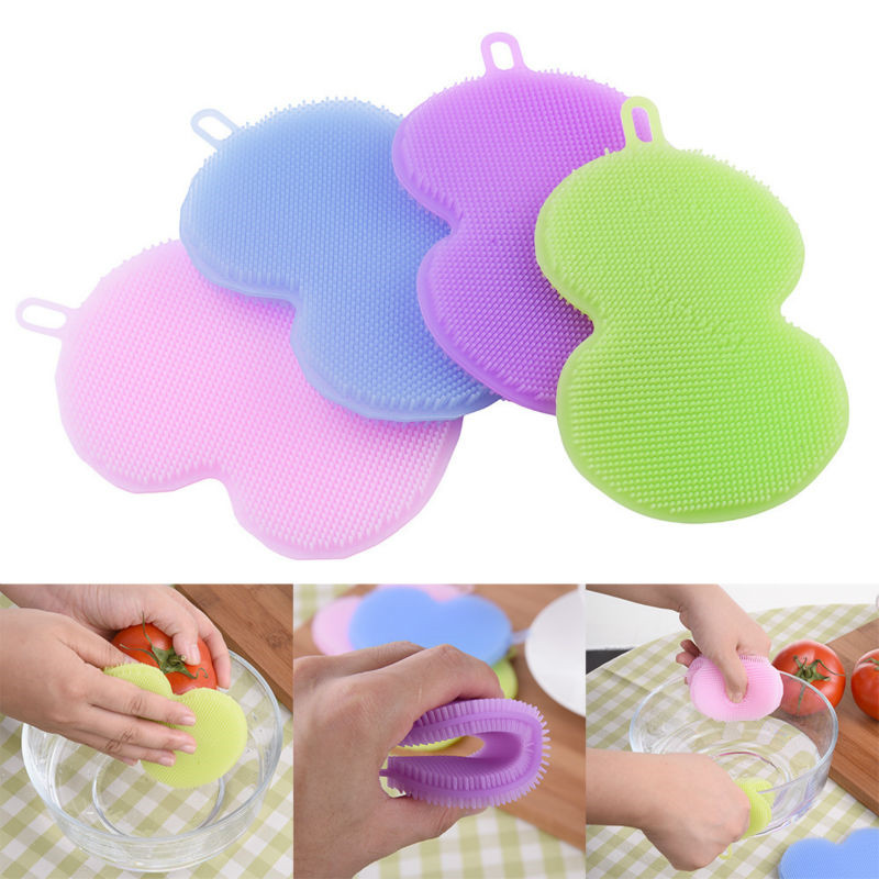 House Cleaning Brushes Soft Silicone Bowl Scrubber Cleaner Pan Dish Clean Brush tools colorful Multifunction Kitchen Accessories(China (Mainland))