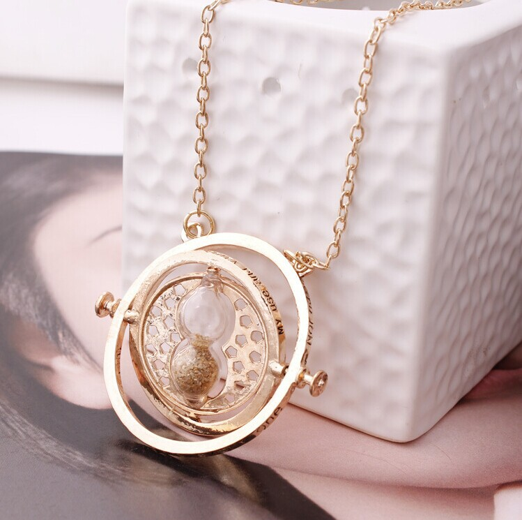 2015 Special Offer New Vintage Unisex Collar Harry Potter Rotating Time Turner Necklace Hourglass Pendent Jewelry