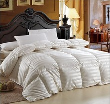 Luxury duvet 98% goose down filling inside  50% silk 50% cotton shell cover queen size king size on sale(China (Mainland))