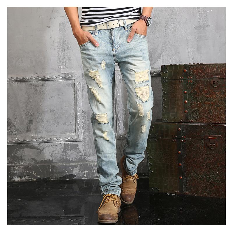 2016 Jeans Men Denim Distressed Ripped Jeans for Men Slim Fit Famous Brand Destroyed Clothing Pantspantalones vaqueros hombreОдежда и ак�е��уары<br><br><br>Aliexpress