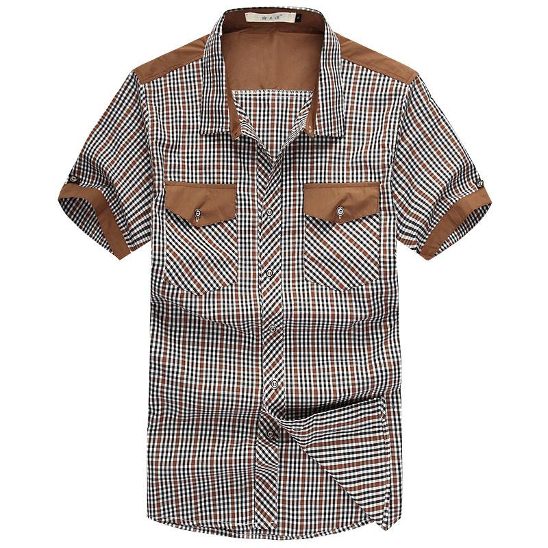 Xl 6xl plus size plaid shirt men cotton fitness shirt men for Plus size men shirts
