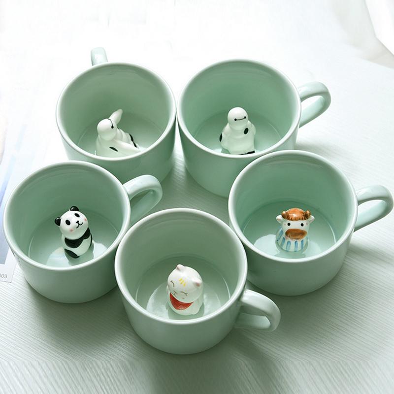Free shipping Creative cartoon ceramic cup/tea cup/coffee cup Fashion 3D animal ceramic cup creative gift(China (Mainland))