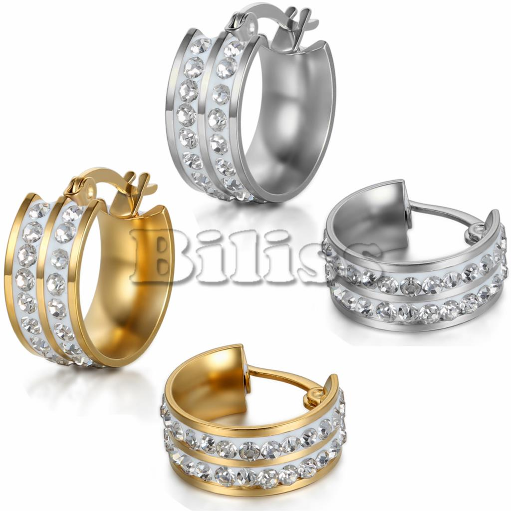 2015 Women Stainless Steel Small Hoop huggie Earrings with Rhinestone Jewelry Silver / Gold Color Selectable 7mm width(China (Mainland))
