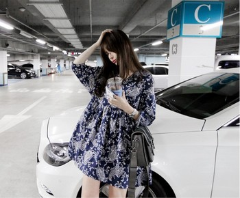 Free Shipping! 2013 new hot summer, Korean style,retro  bule and white porcelain pattern dress,Chinese wind Chiffon Dress