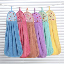 Soft Plush Hand Towel Thicken Super Absorbent Fleece Hanging Handkerchief Kitchen Cleaning Cloth Dishcloth Tool Item Accessories