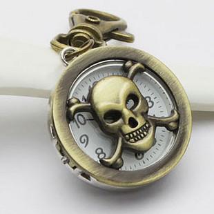 Аксессуары мода персонализировала уникальные тяжелых металлов медь череп брелок карманные часы