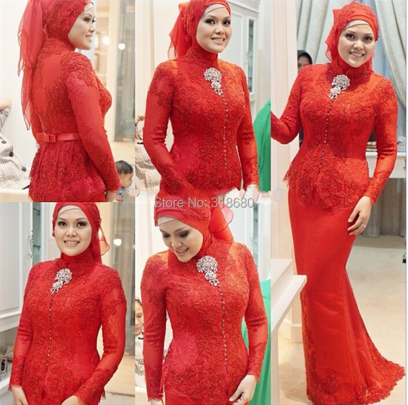 2015 Fashion High Neck Long Sleeve Formal Women Pictures Red Lace Arabic Kaftan Beaded Muslim Style Evening Dresses - AmyStylish Dress store