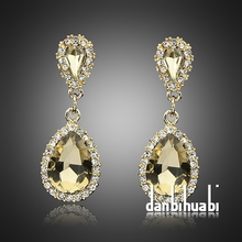 emerald crystal earrings Gold Filled champagne Dangles rhinestone Earrings for women Sapphire CZ Stone brincos boucle d'oreille(China (Mainland))