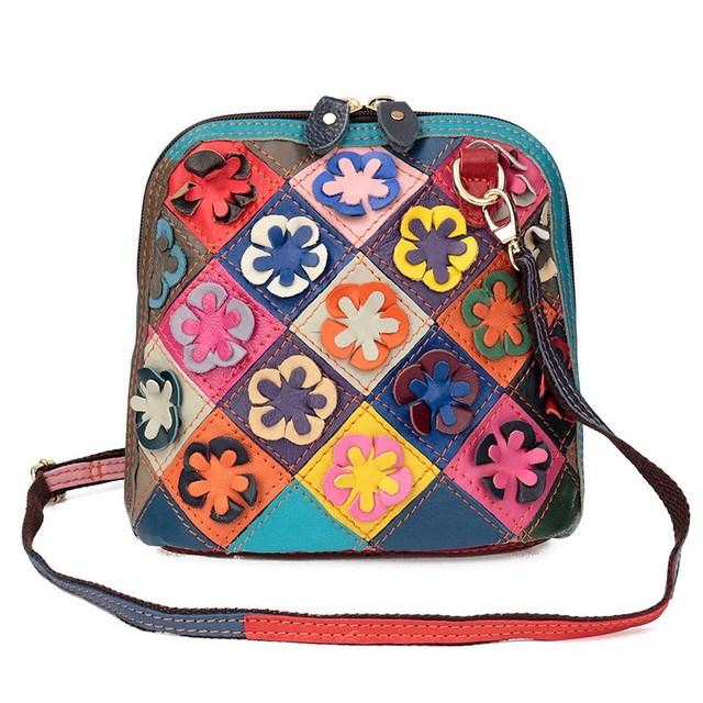 Горячих женщин винтаж малый оболочки подлинная матовая кожа лоскутная аппликация кроссбоди свободного покроя сумка случайный цвет