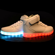 Yeezy Basket High Top Winter Led Light Shoes For Adults Big Size Unisex Male USB Glowing Light Shoes Simulation LED Shoes EU46(China (Mainland))