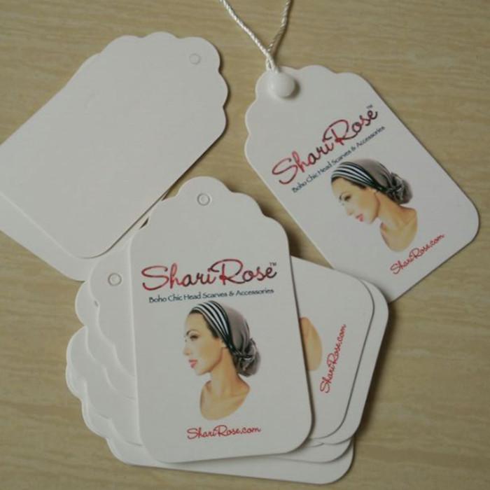 Custom Grade A Coated paper tags Artwork scalloped prettier top swing Hang tag 500 pcs/single design(China (Mainland))
