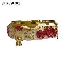 Gohide Latest Design Advanced Gold Plated Ashtray White Glue Anti Oxidation Ashtray Home For Daily Use Senior Gift(China (Mainland))