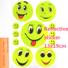 5 Sheet, 19x13CM Reflective safety sticker smile face for motorcycle,bicycle,kids toy,any where for visible safety(China (Mainland))
