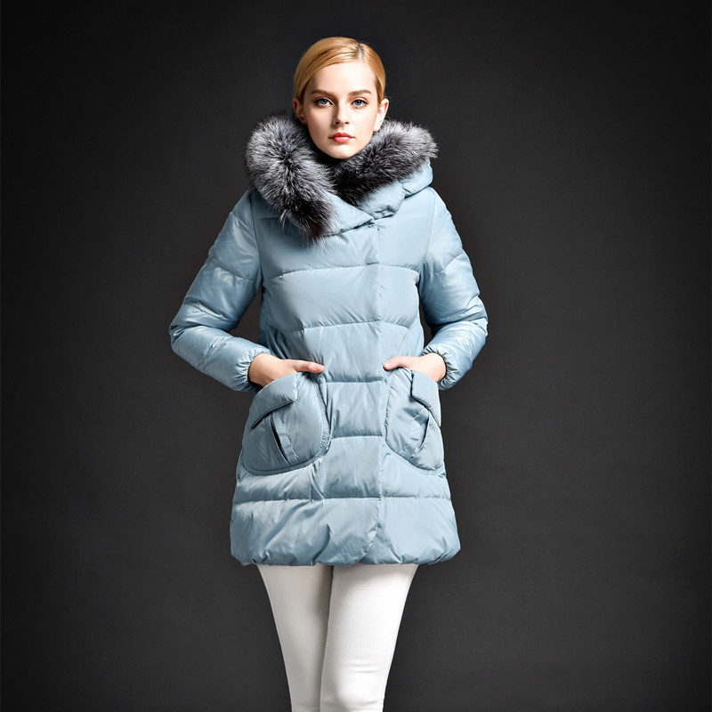 Down jacket women winter long fox fur collars hooded white duck down jacket thick coat A-line large size parka clothing TT312Одежда и ак�е��уары<br><br><br>Aliexpress