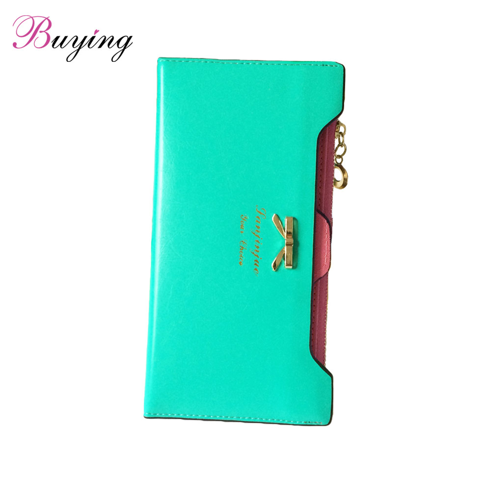 Fashion Wallet Women Lady Long Wallets Purse Female Candy Color Bow Knot PU Leather Carteira Feminina for Coin Card Clutch Bag(China (Mainland))