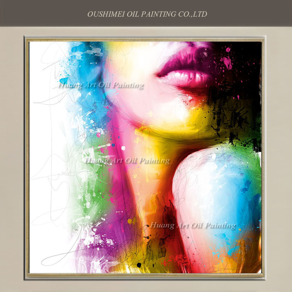 Skilled Painter Hand Painted Oil Painting Abstract Character Painting On Canvas For Room Wall Decor Color Sexy Women Lips Art(China (Mainland))