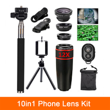 Buy 10in1 kit Lenses 12x Telephoto Lens Fisheye lens Wide Angle Macro Lentes Selfie Stick Remote Tripod Smartphone iPhone Xiaomi for $14.84 in AliExpress store
