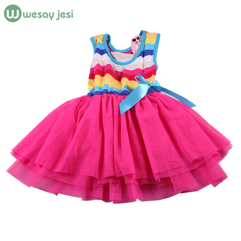 2-5 Years Baby dress Stripe sleeveless Rainbow girls clothing infant princess Summer kids dresses party wear - WESAY JESI W Co. Ltd. Store store