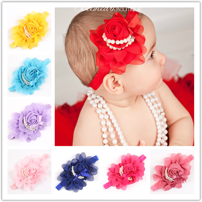 12Clrs New Fashion Hot children Infant Baby Toddler girls Rose Pearl flower Headband Headwear Hair Band Head Piece Accessories(China (Mainland))