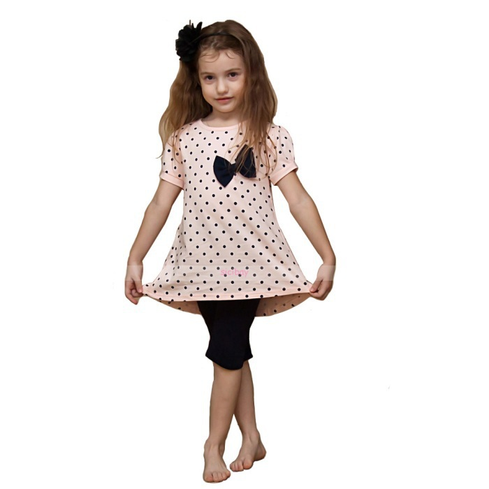 Conjuntos de roupas meninas por atacado vestido Irregular o-pescoço conjunto de roupas para meninas roupas de bolinhas 6 jogos/lote A0963(China (Mainland))